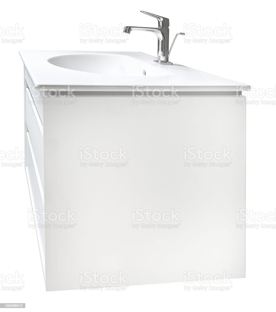 white basin and cabinet isolated (with clipping path) stock photo