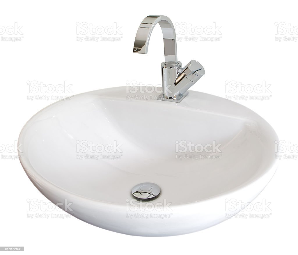 white basin stock photo