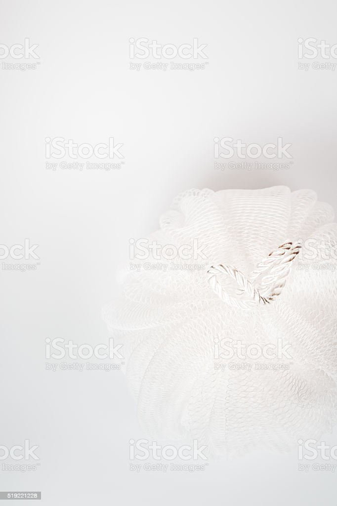 White Bath Puff on White Background stock photo