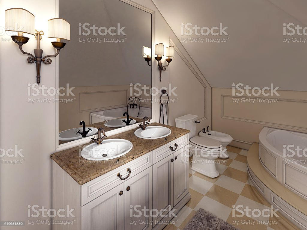 White bath sink with large mirror and sconces stock photo