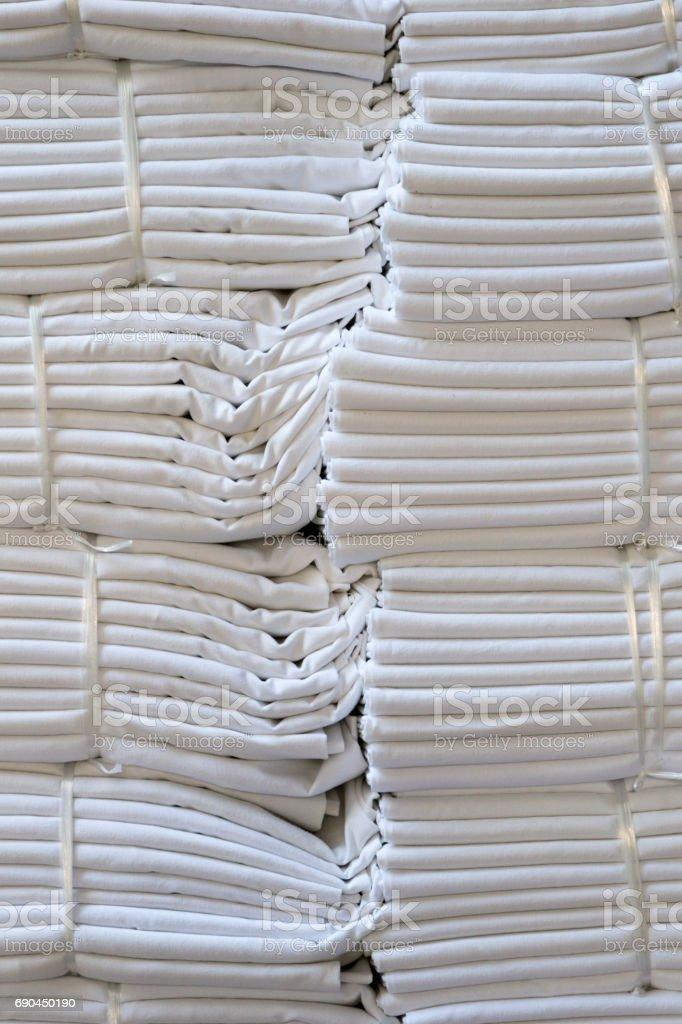 White bath towels stock photo