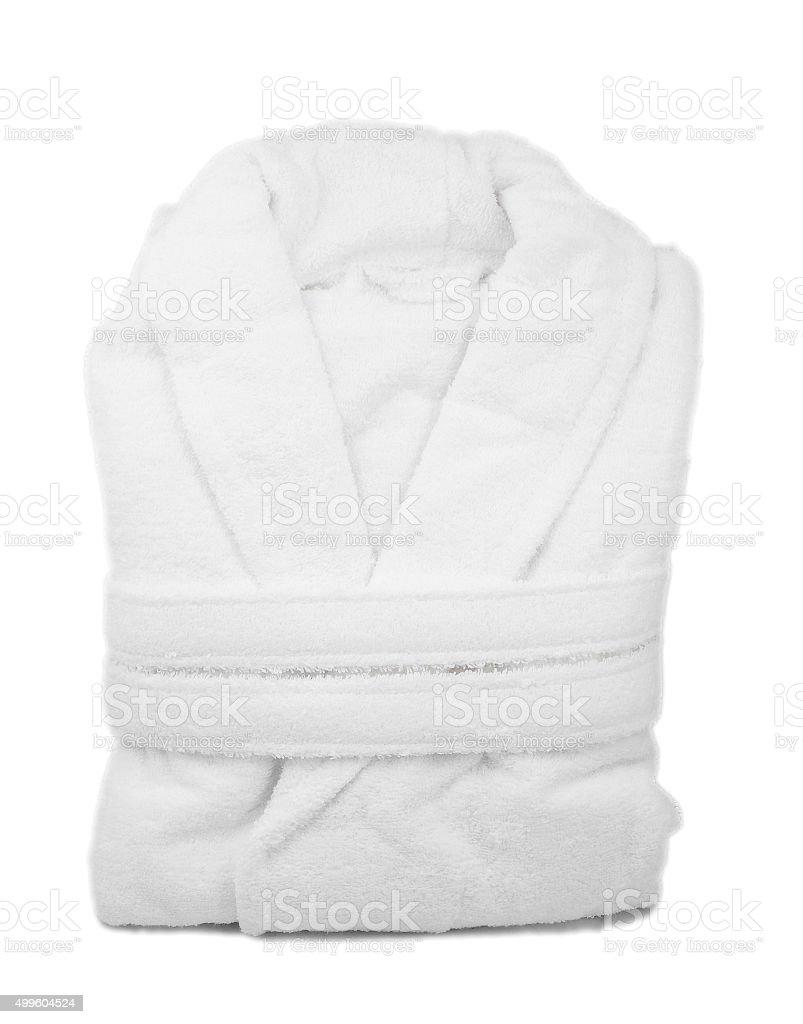 White bathrobe isolate stock photo