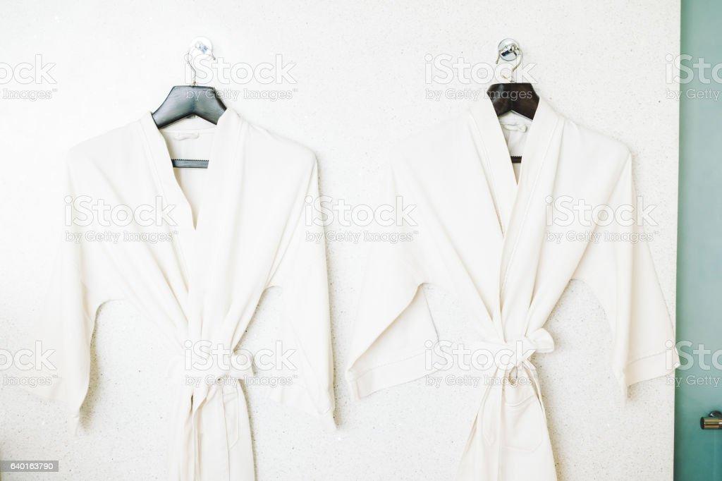 White bathrobe stock photo