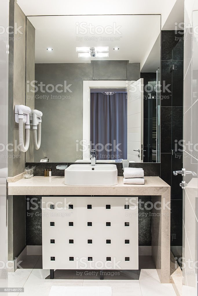 White bathroom interior stock photo