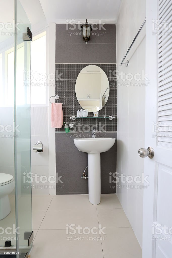 White bathroom of interior and have sanitary ware. stock photo