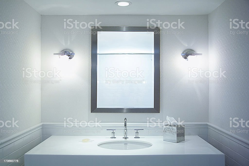 white bathroom stock photo