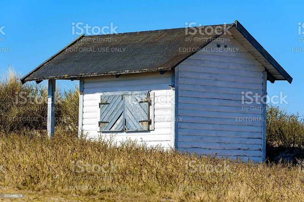 White beach hut stock photo