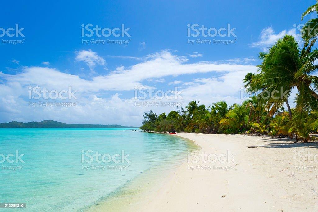White beach on desert island in Aitutaki atoll, Cook Islands stock photo