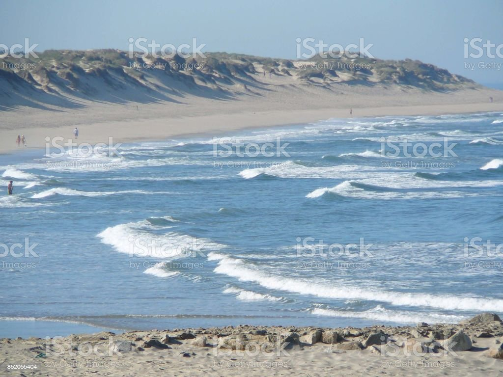 White beach on Portugals Silver Coast stock photo