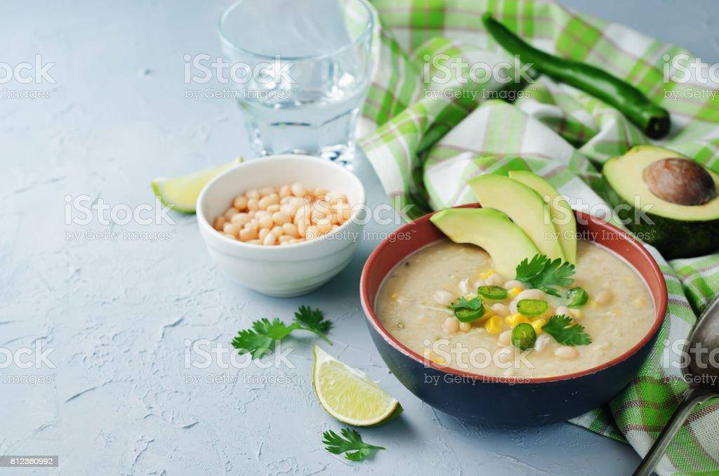 White bean chicken chili stock photo