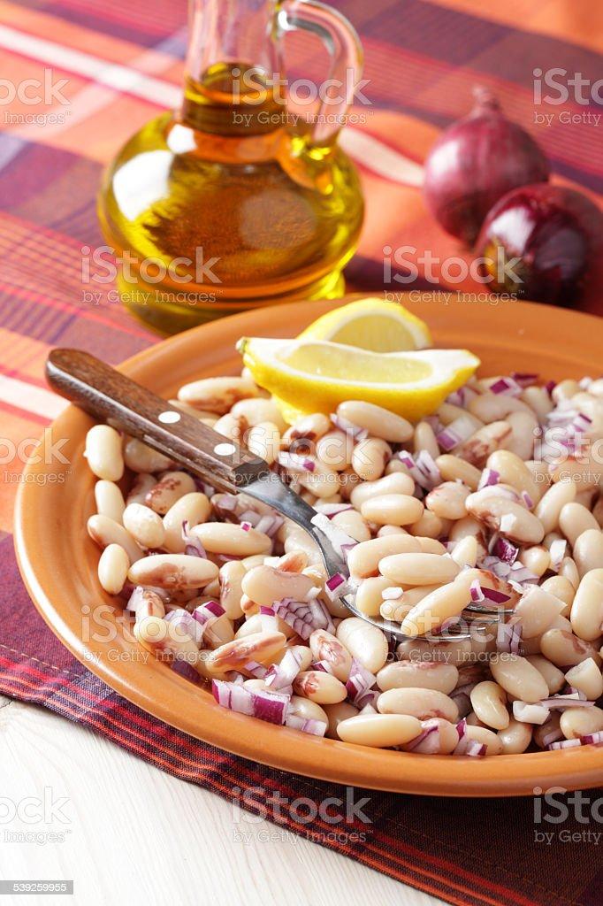 White bean salad stock photo