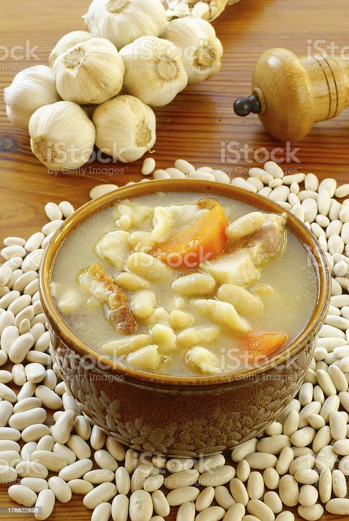 White bean soup stock photo