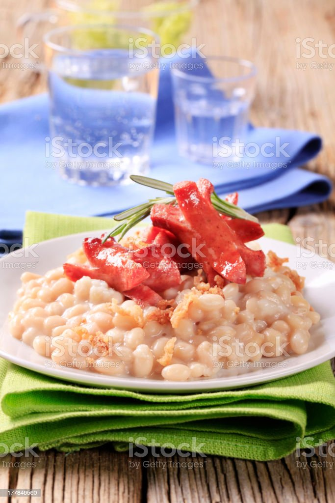 White beans with wursts royalty-free stock photo