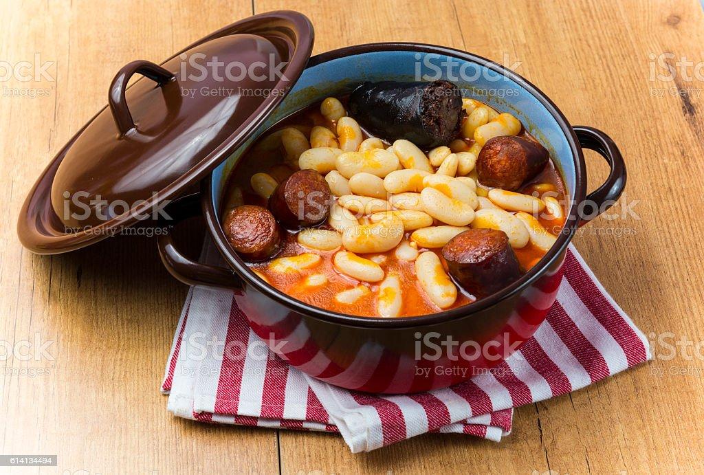 White beans,Asturias stock photo