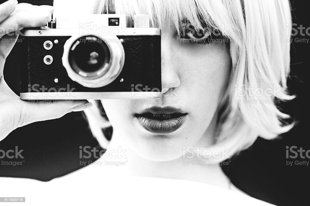 White Beauty capture with analog camera stock photo