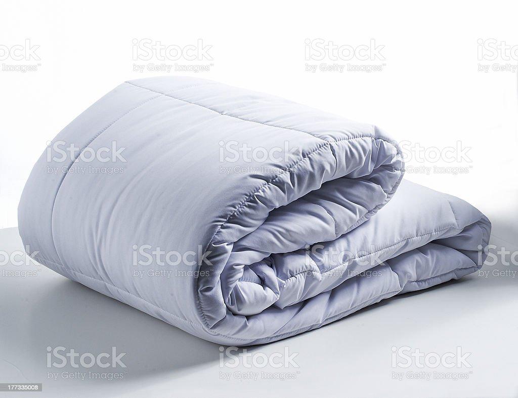 white bed duvet stock photo