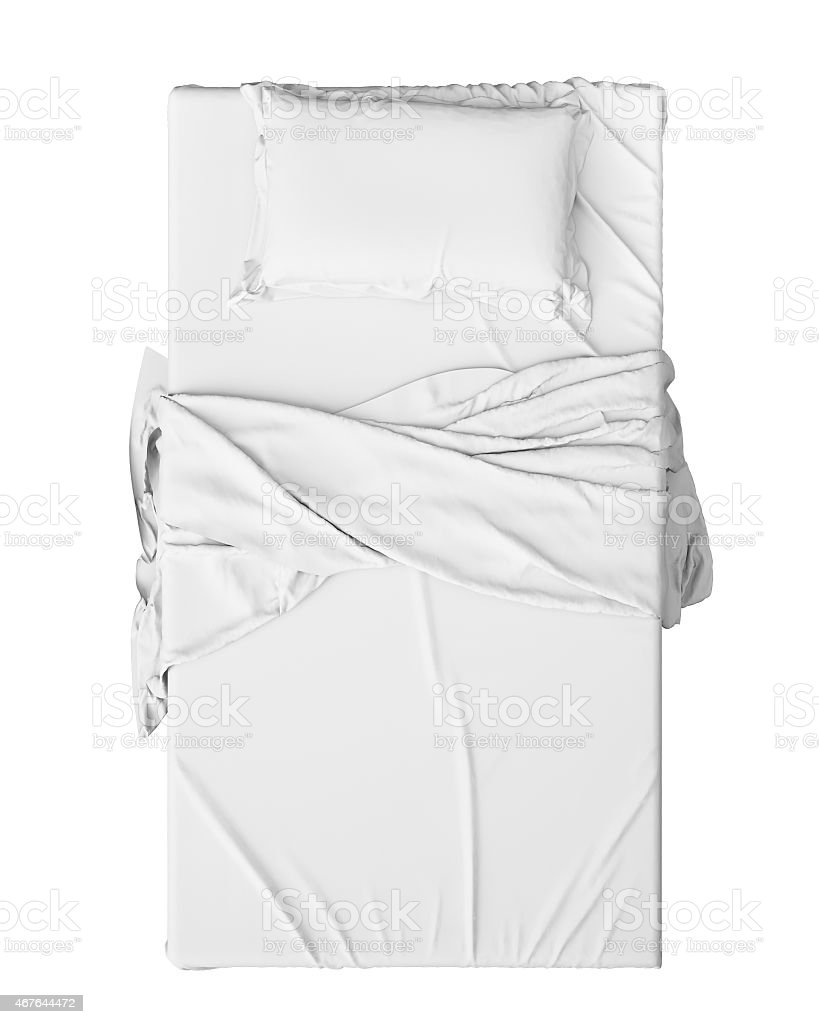 White Bed In Empty Space Isolated on White stock photo