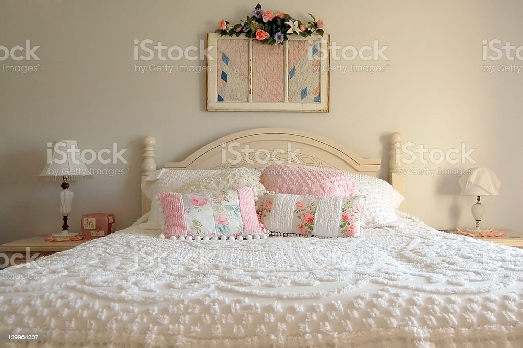 White Bed royalty-free stock photo
