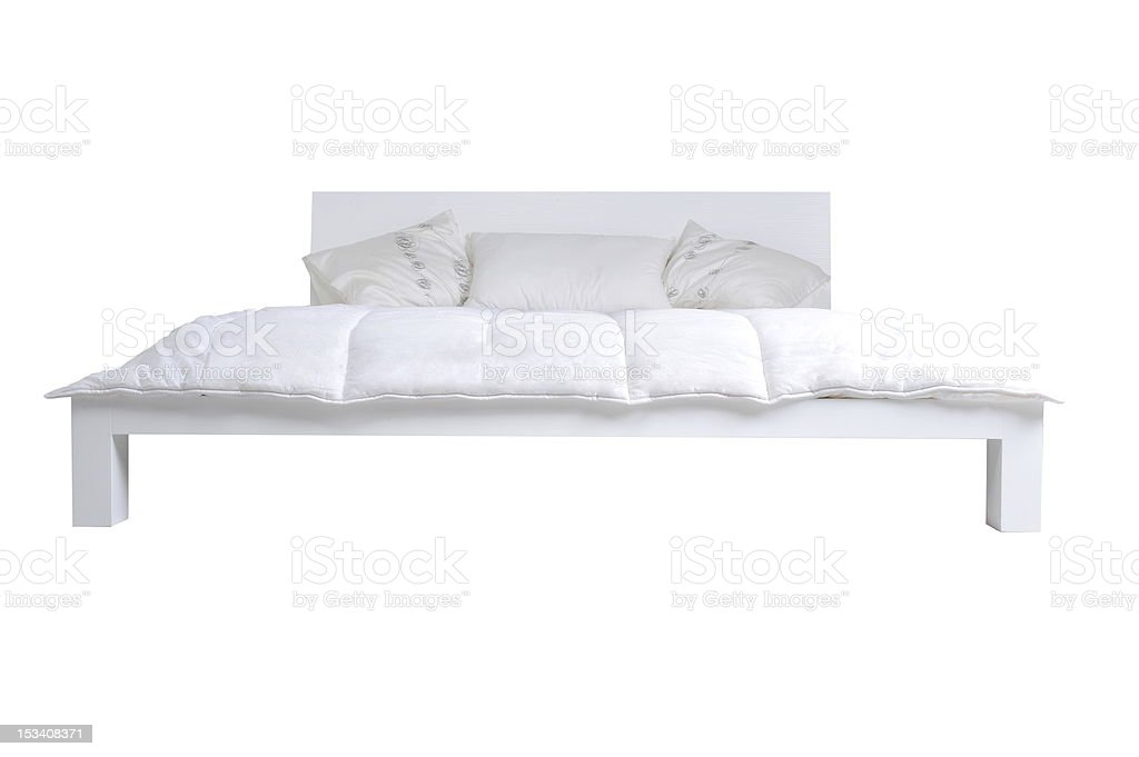 white bed stock photo