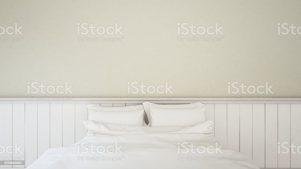 White bedroom - Interior design - 3d rendering stock photo