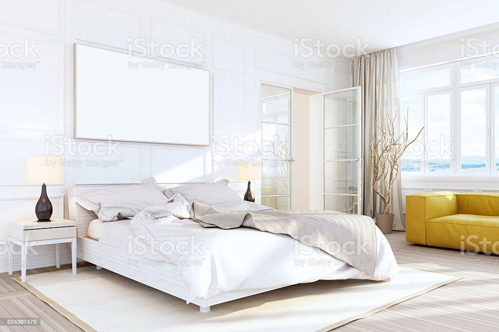 White Bedroom Interior Wall Art stock photo