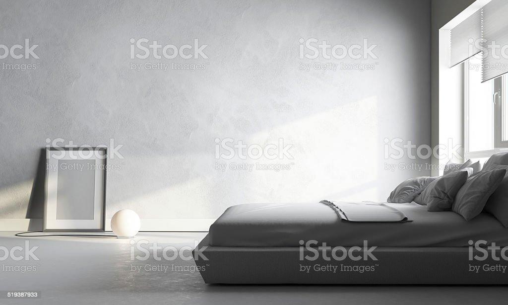 white bedroom stock photo