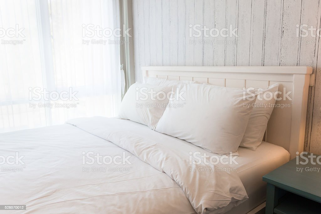 White bedroom stock photo