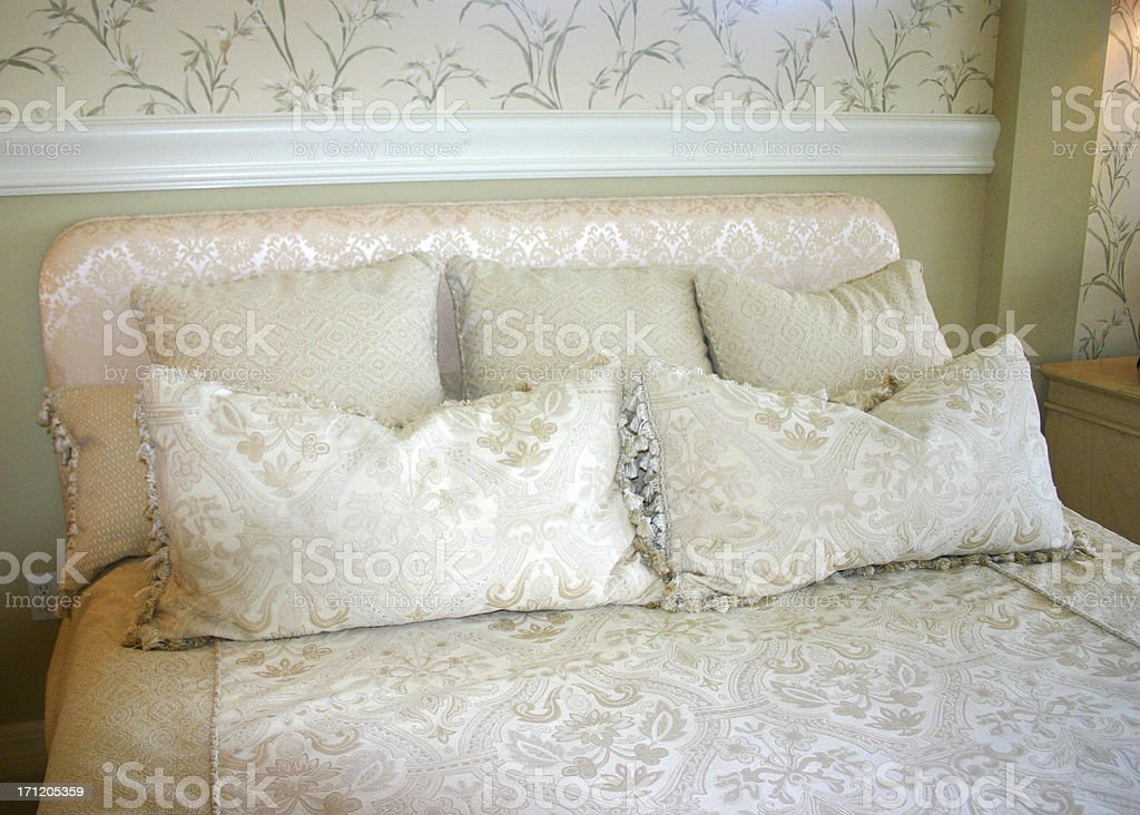 White Bedside Pillows royalty-free stock photo