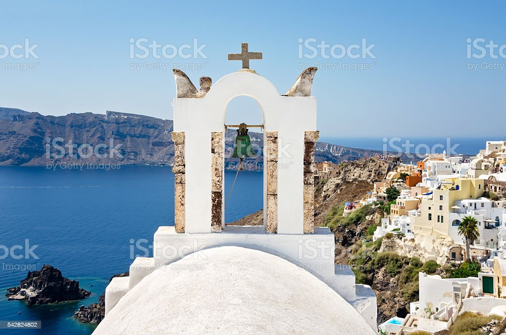 White belfry in the Santorini Island, Cyclades in Greece. stock photo