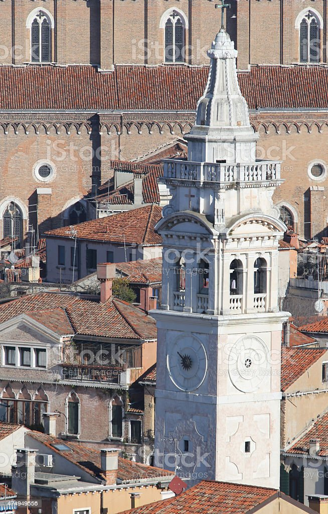 White bell tower of Church of St Mary in VENICE stock photo