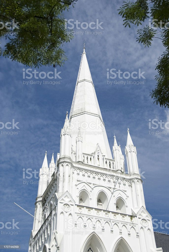 White bell tower stock photo