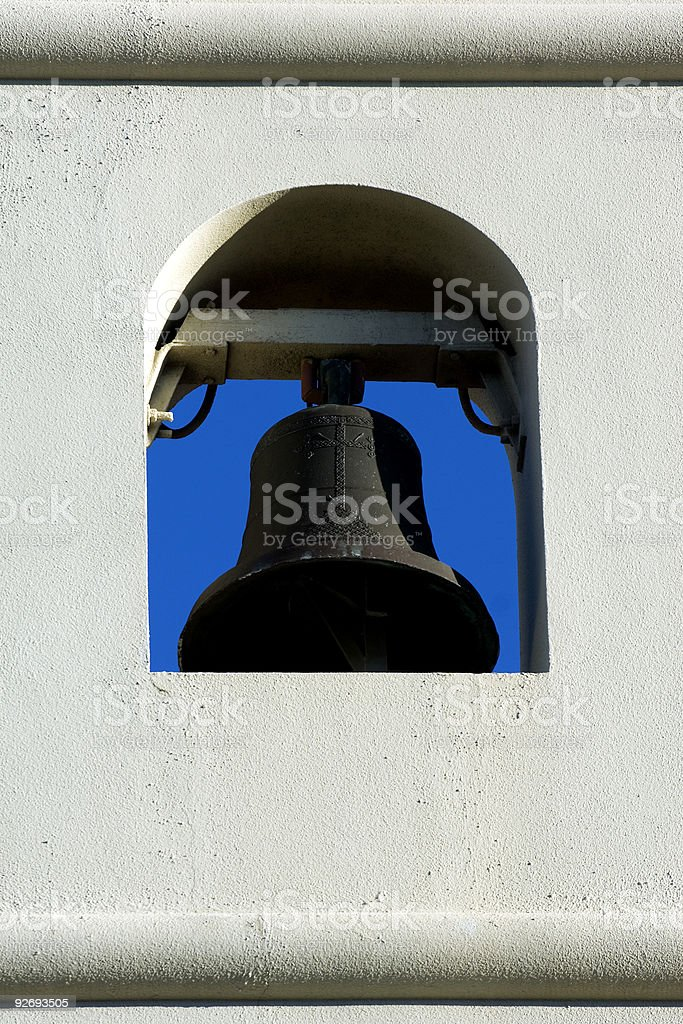 White bell tower royalty-free stock photo