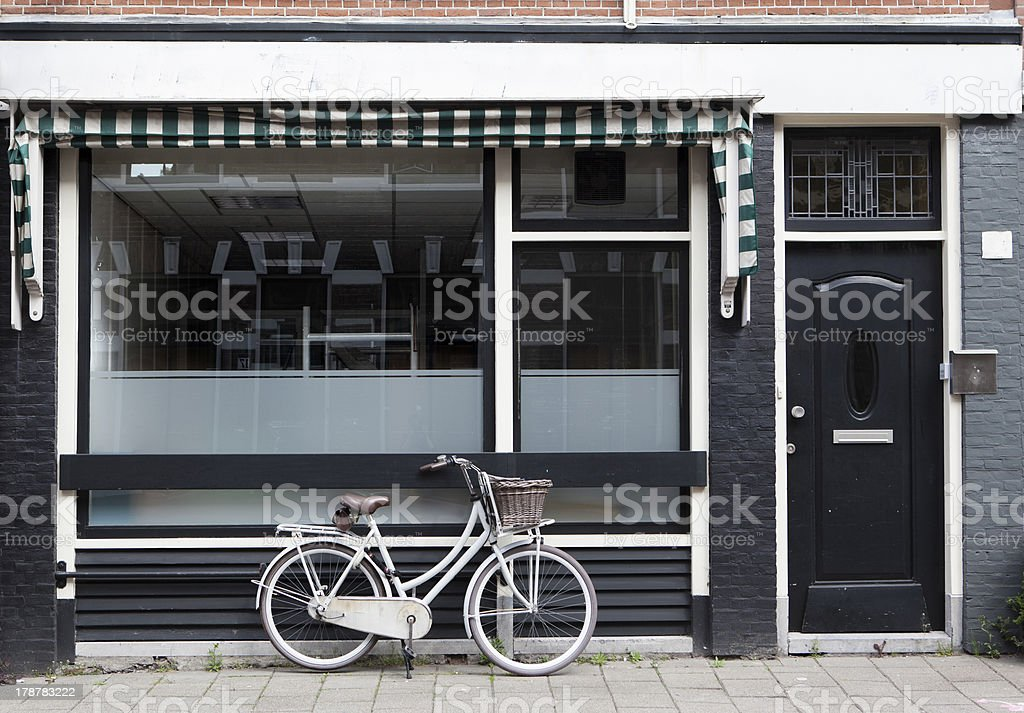 White bicycle in Haarlem, Netherlands. royalty-free stock photo