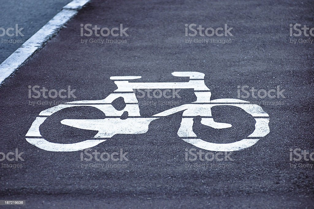 White bicycle sign royalty-free stock photo