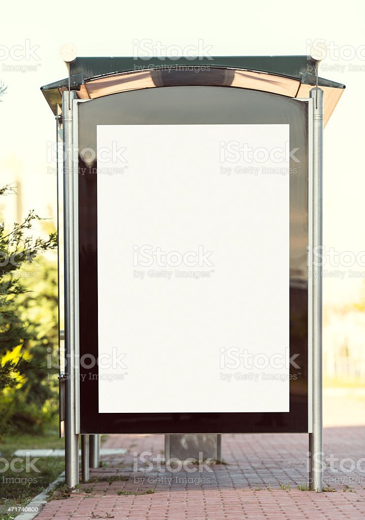 White billboard on a bus station stock photo