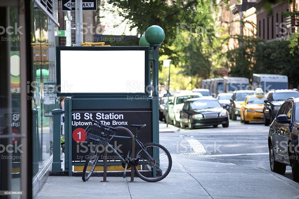 White billboard on the subway entrance. stock photo