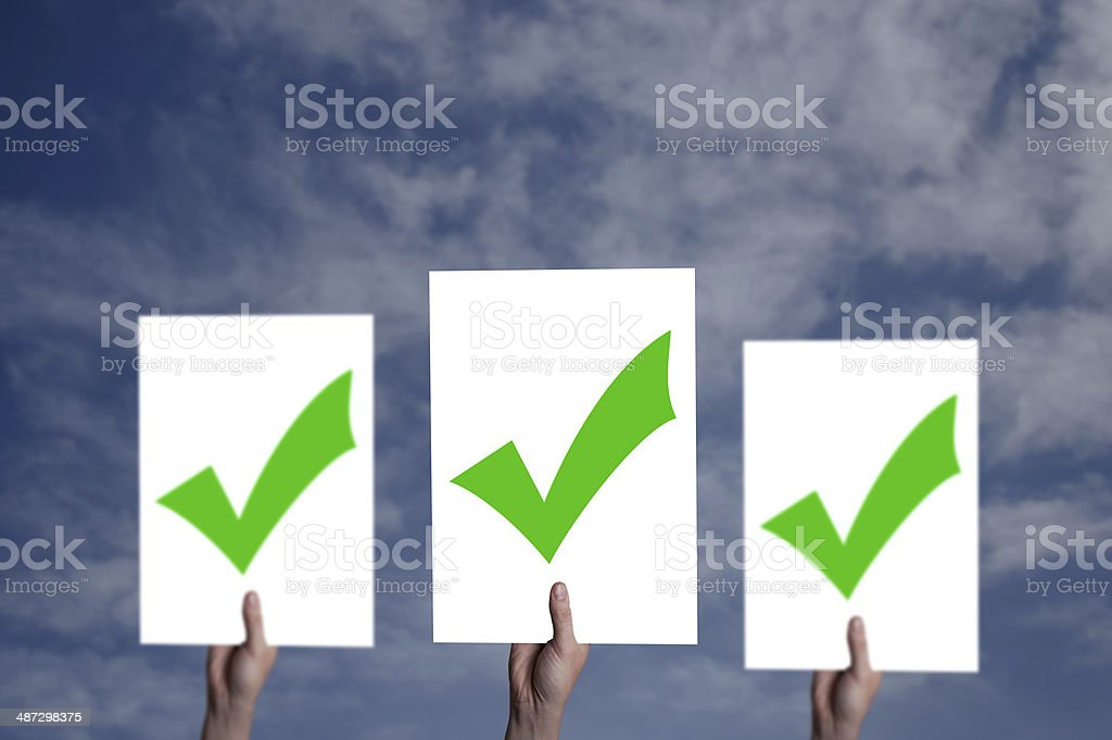 White billboard with a check mark on it stock photo
