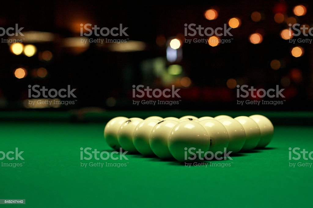 White billiard balls close-up stock photo
