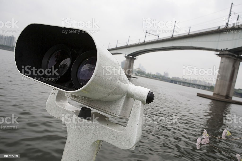 White binocular on the deck royalty-free stock photo