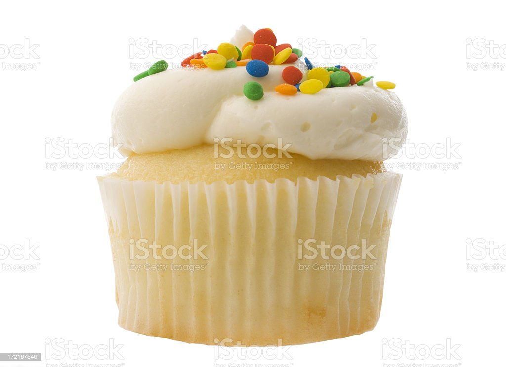 White Birthday Cupcake with Vanilla Icing, Sprinkles Isolated on White royalty-free stock photo