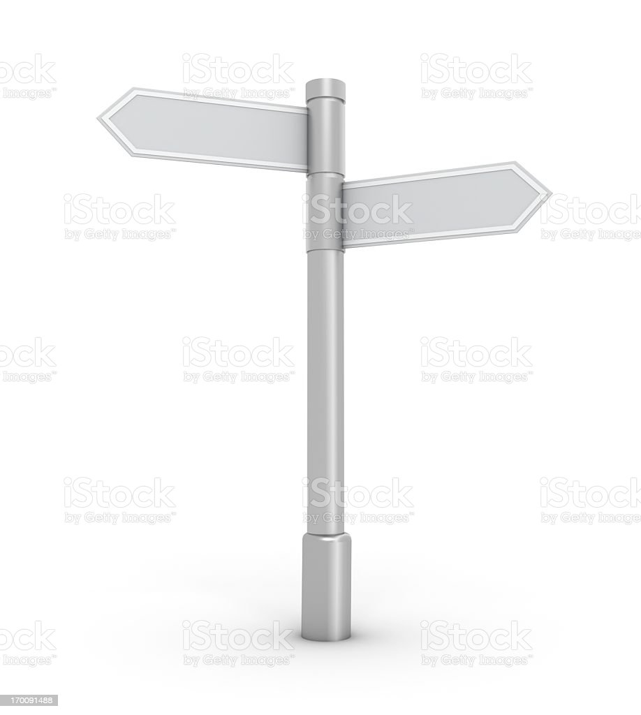 White blank arrow signs pointing at separate directions royalty-free stock photo