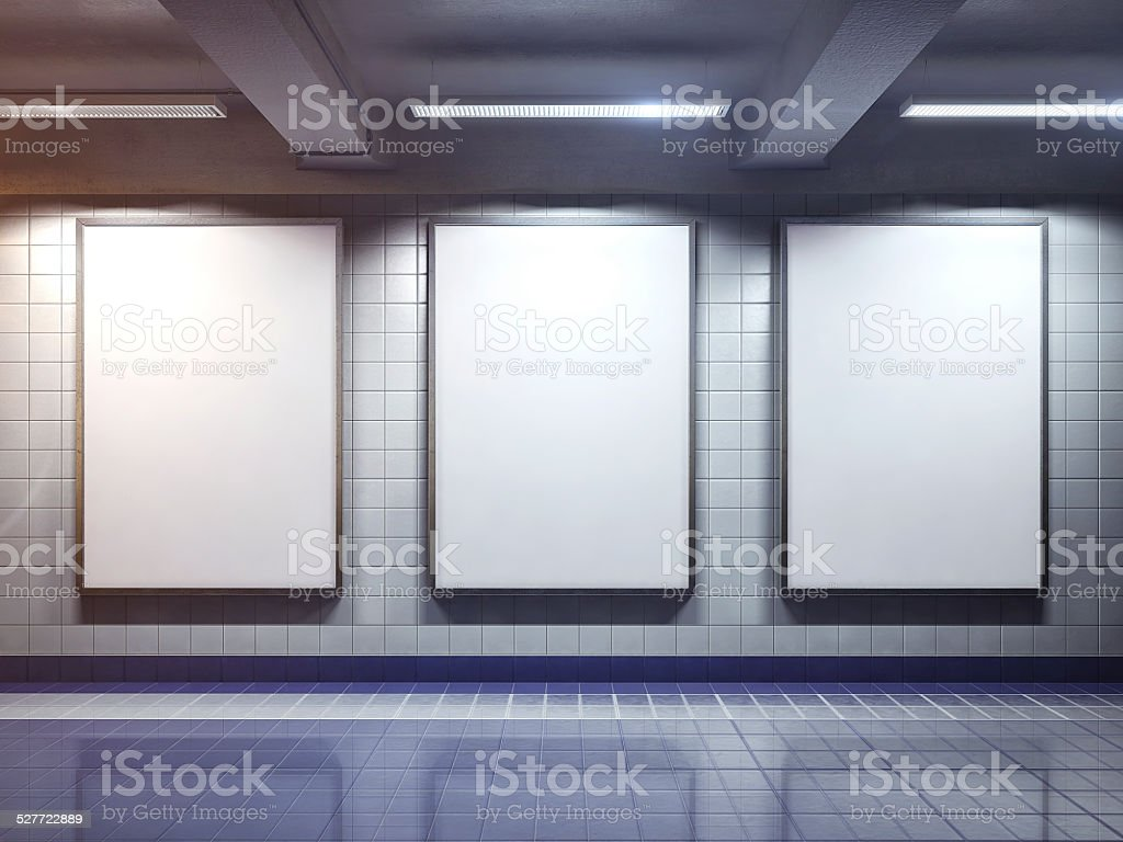 white blank billboard poster indoor stock photo