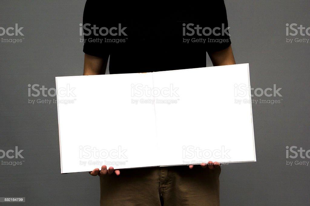 white blank book stock photo