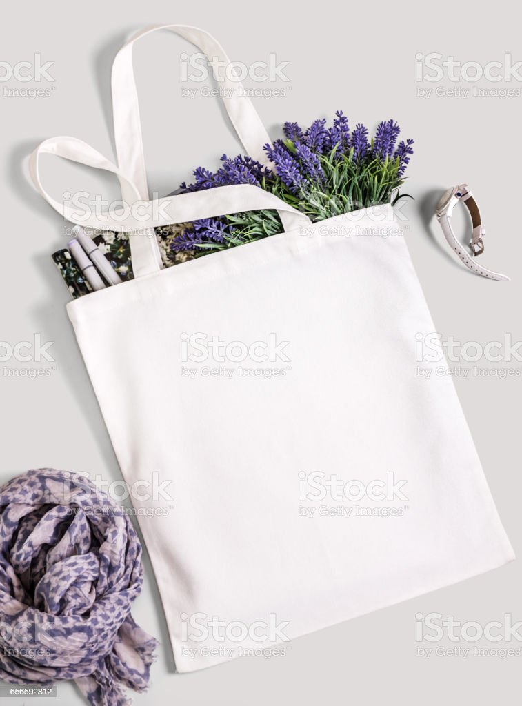 White blank cotton eco tote bag, design mockup. stock photo