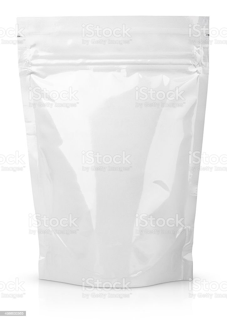 White blank foil or plastic sachet with valve and seal stock photo