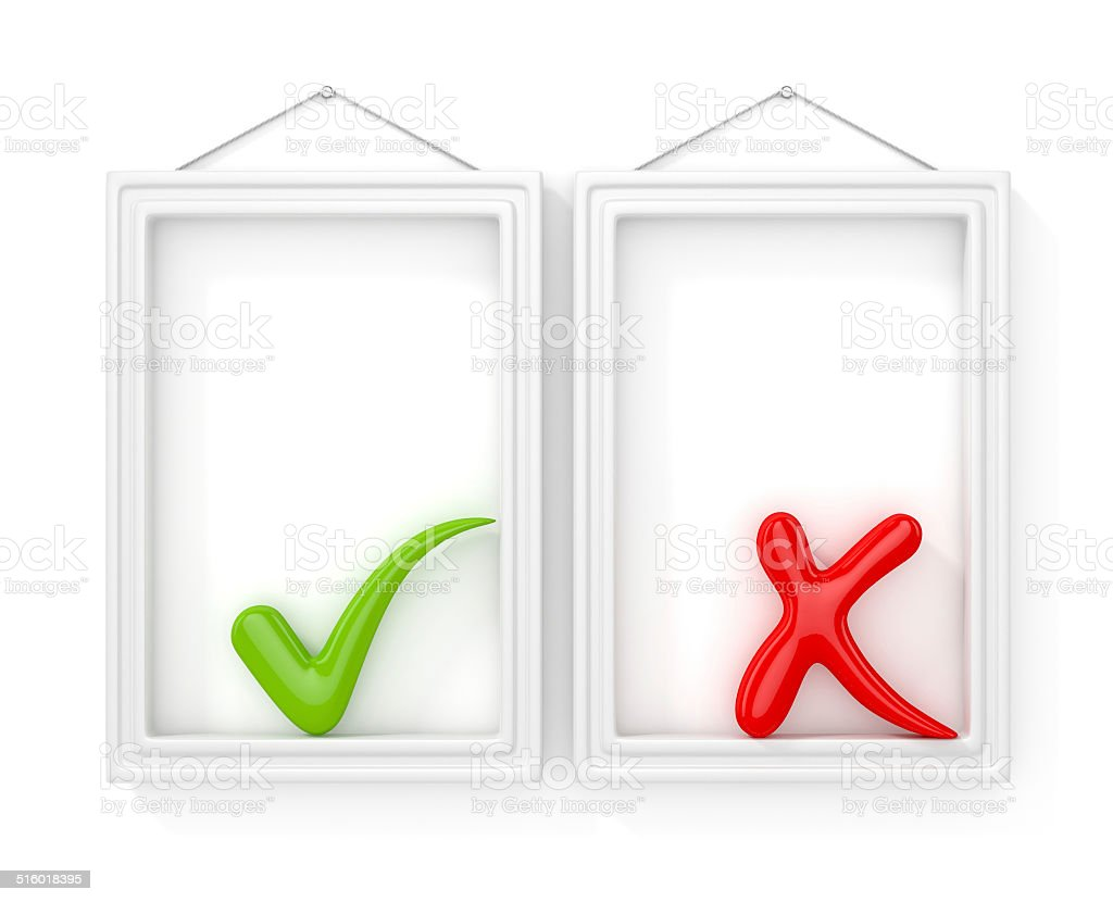 white blank frames on the wall with checkmarks stock photo