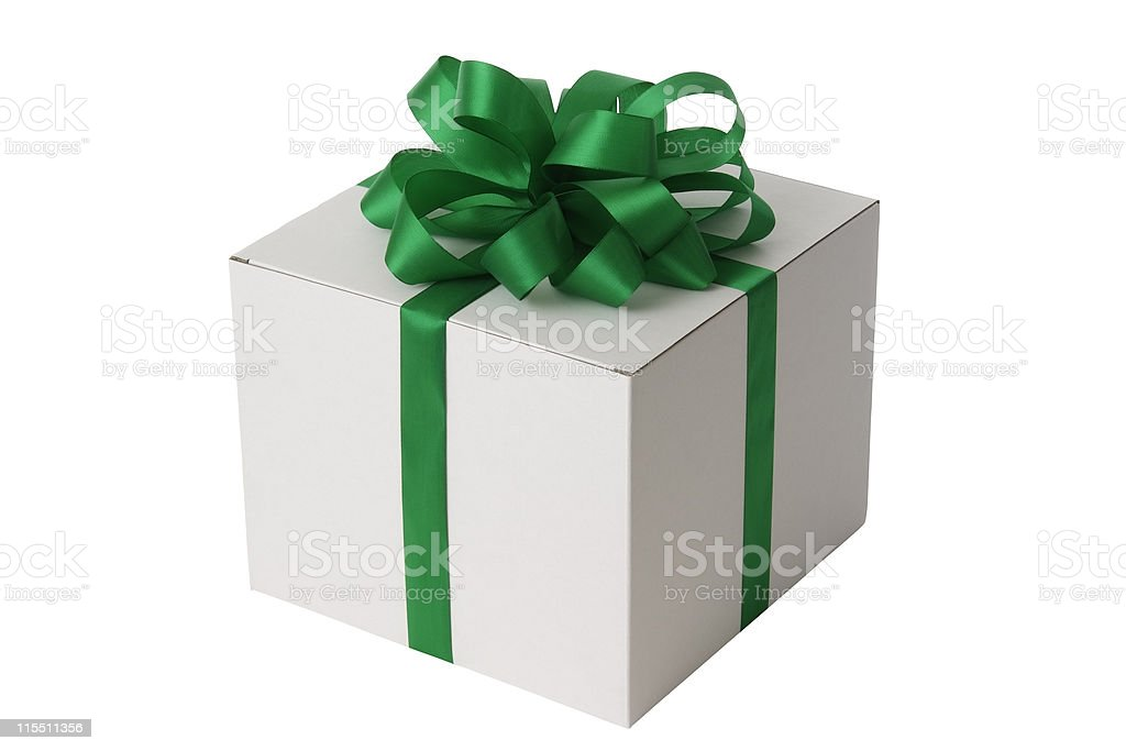 White blank gift box tied with a green ribbon bow royalty-free stock photo