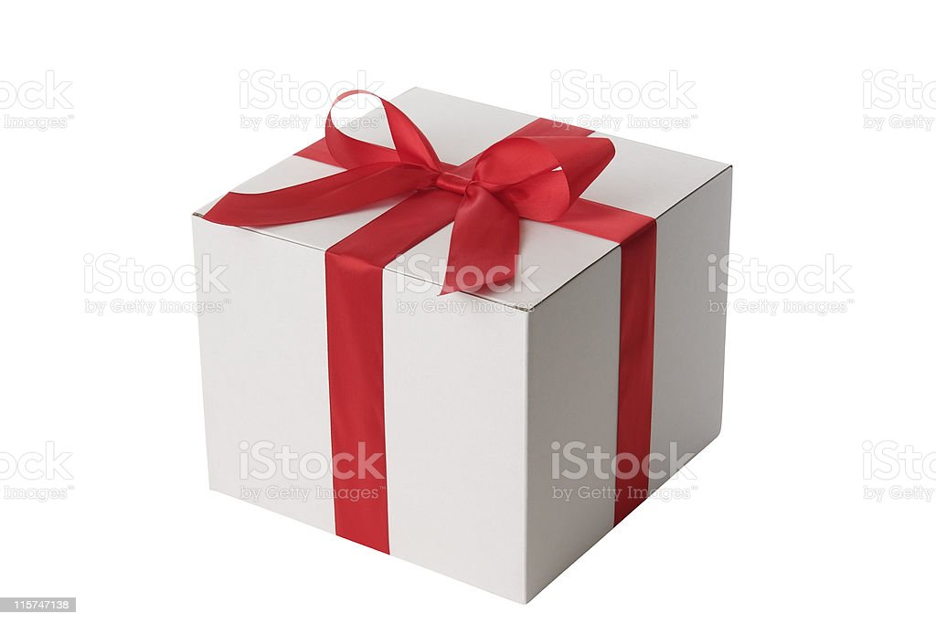 White blank gift box tied with a red ribbon bow royalty-free stock photo
