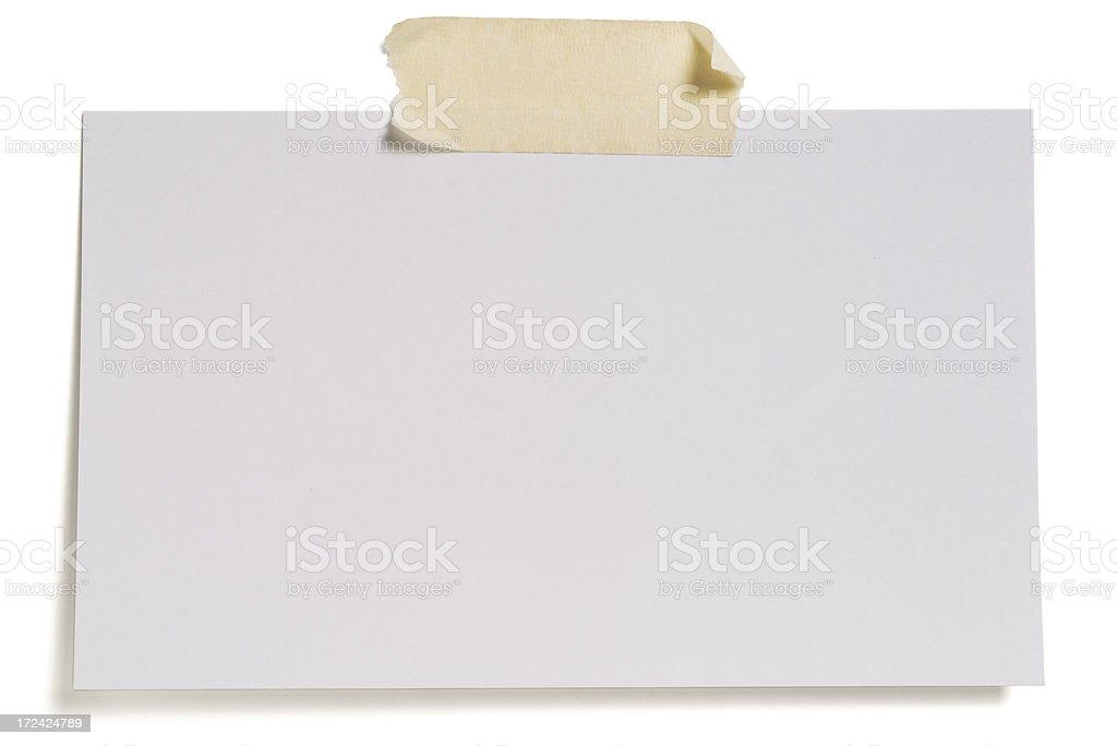 White blank index card isolated on white stock photo