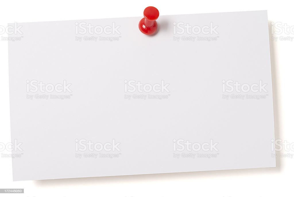 White blank index card isolated on white stock photo